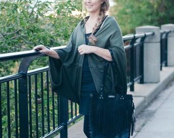 Leather fringe bag, Black boho fringe bag, Black leather fringe bag