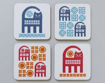 Cat Coaster // Coasters // Coaster Set // Cat // Cats // Cat Lover Gift // Cat Gifts For Women // Cat Gifts For Men // Retro Coasters