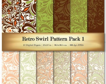 Retro Swirl Digital Scrapbook Paper Variety Pack Green Orange Patterns - Commercial Use OK