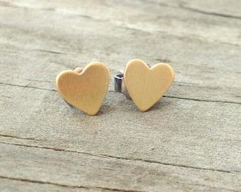 Tiny Brass Heart Stud Earrings