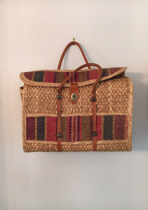 Large Boho Rattan Top Handle Bag with Leather Straps - Vintage Oversized Beach Bag - Traveling Resort Bag