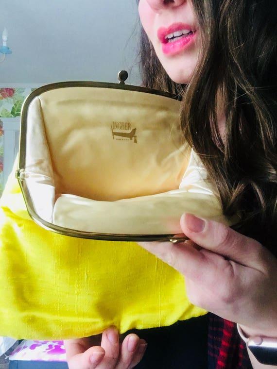 Vintage 1950s Bright Yellow Ingber Satin Clutch - Retro Handbags - Vintage Foldover Clutch