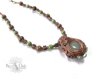 Gemstone Polymer Clay Necklace Crystal Pendant Magical Fantasy Pendant Sculpted Aventurine Stone Beaded Necklace Elven Jewelry Faerie