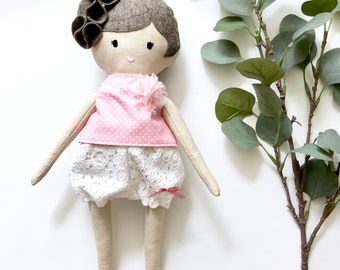 cloth doll for girls, nursery decor doll, summer girl doll, rag doll with bloomers, stuffed doll girl, textile doll girl, artdoll girl