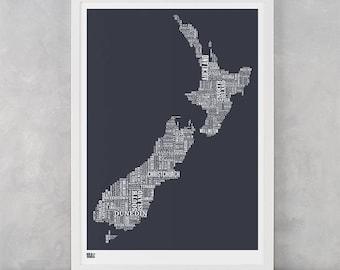 New Zealand Type Map Screen Print, New Zealand Word Map, New Zealand Artwork, New Zealand Wall Poster, New Zealand Wall Print, New Zealand