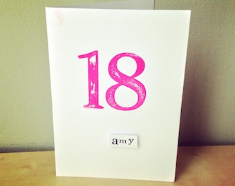 18th Birthday Card - personalised birthday card -  personalised 18th card