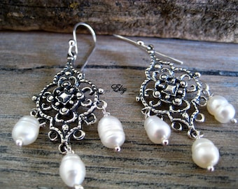 Mexico filigree etsy mexican lace filigree chandelier earrings arracadas de plata con perlas mexican chandeliers with pearls mozeypictures Images