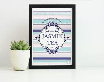 Affiche JASMIN TEA  - Poster Thé, Affiche Tigre, Dessin Vintage, Inde - affiche deco, affiche rayure, Illustration, Art mural, illustration