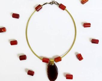 Agate Choker Necklace, Short Statement Necklace, Carnelian Necklace Geode