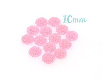 10mm  Baby Pink Faux Druzy Crystal Clusters Cabochons sfc0126