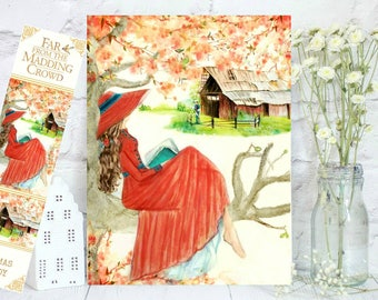 Watercolor girl reading wearing a red dress. Bathsheba from Far From the Madding Crowd.