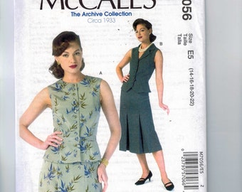 REPRODUCTION Misses Sewing Pattern McCalls M7056 7056 Archive Collection 1930s Style Vests Size 6 8 10 12 14 16 18 20 22  Multi UNCUT