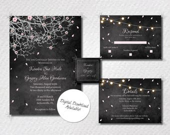 Rustic Blossoms in a Tree Invitation Suite