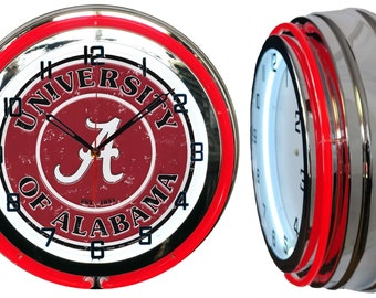 "University of Alabama Crimson Tide 19"" Retro Double Tube Neon Clock FREE SHIPPING By: Checkingtime.com"