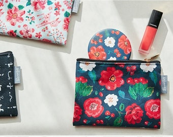 Nathalie Lete zipper bag (Size S) - Small cosmetic pouch - PVC fabric pouch red flower coin purse - Flower Cosmetic Bag - Waterproof pouch