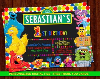 Elmo invitation, Sesame Street Birthday, Sesame Street Invitation, Sesame Street Birthday, Sesame Street invites, Elmo, Free thank you cards