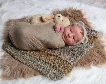 Mohair bear bonnet. Newborn boy or girl. Photo prop.