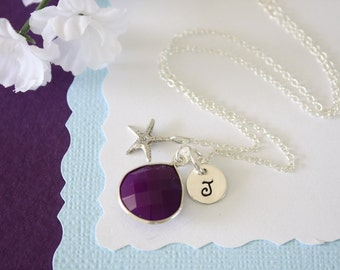 Purple Initial Charm Starfish Necklace, Gemstone, Sterling Silver, Monogram Necklace, New Mom, Princess, Teen, Tween, Personalized