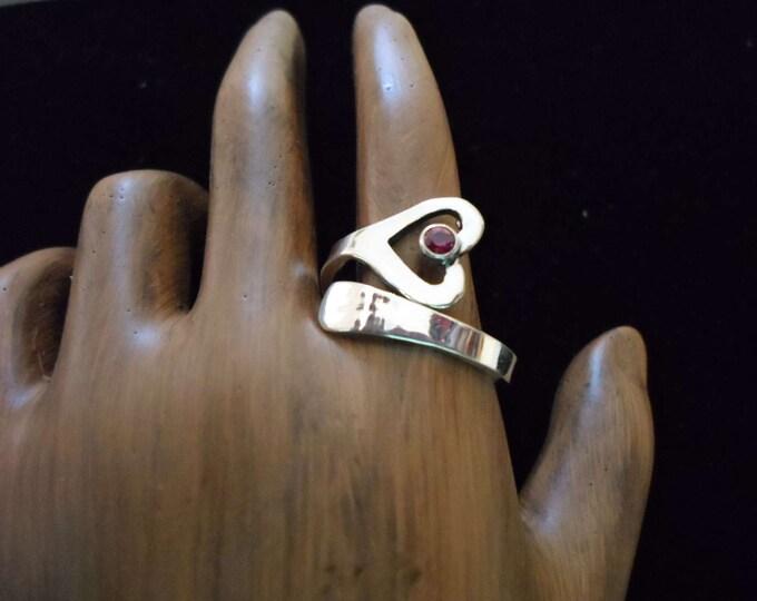 heart birthstone spoon ring adjustable