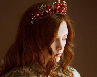 Red wedding tiara, floral bridal crown - Scarlet no. 2225