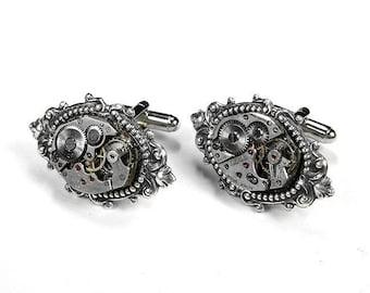 Steampunk Cufflinks Vintage Watch Men's Cuff Links Renaissance Wedding Anniversary Groom Boyfriend Fiancee - Steampunk Jewelry by edmdesigns