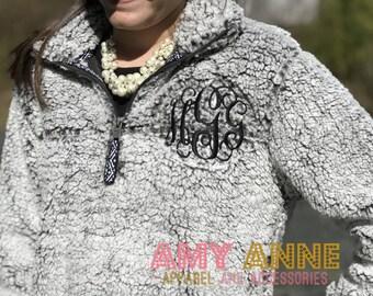 Sherpa Quarter Zip Monogrammed Heathered Fleece Pullover Sweatshirt ~ Sorority ~ Blogger Favorite ~ Warm ~ Trendy