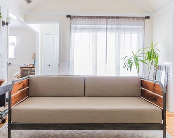 Modern Redwood Sofa or Daybed, Steel Frame, Custom, 'Meyers' Series