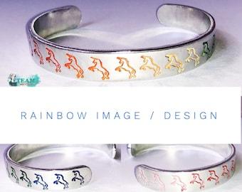 Custom Rainbow or Pastel 12 Gauge Aluminum Cuff Bracelet