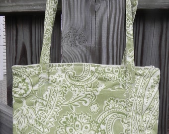 Handmade Green Paisley Zip Top Quilted Purse