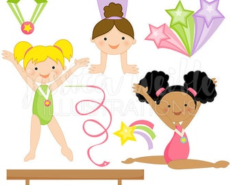 Girls Gymnastics Cute Digital Clipart for Commercial and Personal Use, Gymnast Clipart, GymnasticS Clip art , GIRL Graphics
