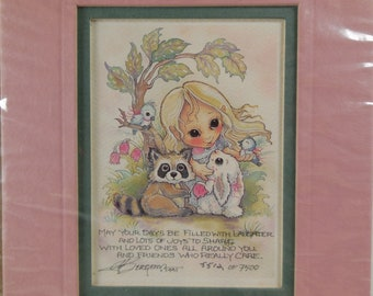 "Jody Bergsma 1992 Limited Edition Lithograph Big Eyed Girl with Animals 2.5"" X 3.5"" Friends Laughter Joy"