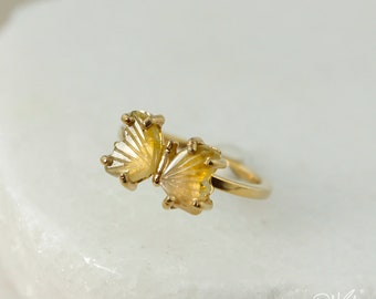 Gold Honey Yellow Tourmaline Butterfly Ring - Natural Tourmaline - Spring Statement Ring