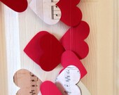 HEARTSTRINGS - Music Notes Paper Heart Garland ~ Perfect for Weddings, Showers, Birthdays! Red, Neutral, White - Custom Orders/Colors!
