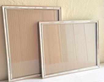 Pair of Matching Vintage Gold and White Faux Pearl Metal Picture Frames 8x10