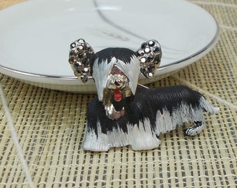 Cute Little Shaggy Black and Silver Yorkie Pin  2959