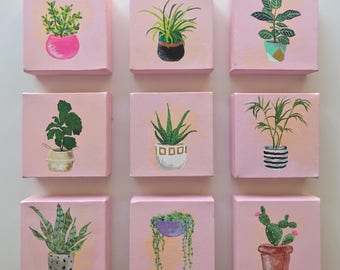 Potted House Plant Acrylic Paintings, Series of 9