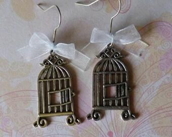"Earring dangle charm ""birdcage"""