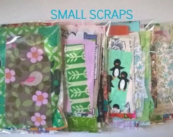 Small Scraps Bundle - Patchwork Fabric - Stash Builder - Colorful Fabric Scraps - Grab Bag - Cotton Fabric Scraps - 40 Pieces Fabric Bundle