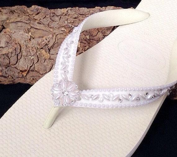 Havaianas Flip Flops Pearl Wedding Shoes Blushing Bride w/ Swarovski Crystal Rhinestone Beach Sandals Cariris Wedge Bridal Bridesmaid Shoe