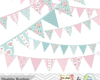 Digital Shabby Chic Bunting Clipart, Shabby Chic Tea Party Bunting Banner Clip Art Pink and Blue Bunting Flower Bunting Party Bunting 00332