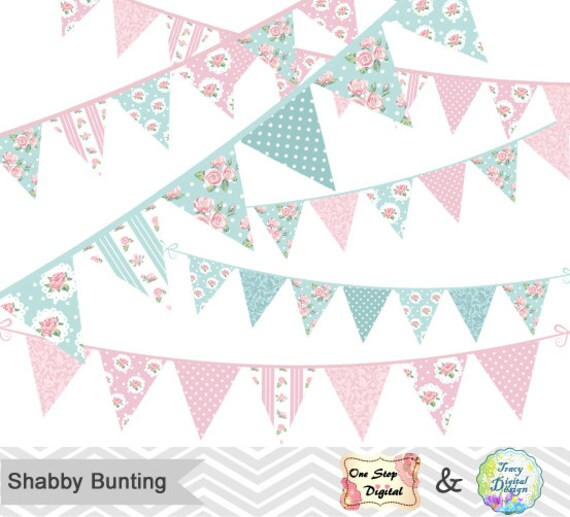 digital shabby chic bunting clipart shabby chic tea party rh etsy com shabby chic bunting uk shabby chic bunting wedding
