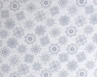 FLANNEL - Snowflakes on White from Henry Glass's Frosty Folks Flannel Collection