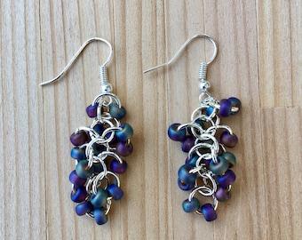 Beaded Hanging Earrings, Shaggy Beaded Earrings, Dangling Earrings Chainmaille Silver Earrings Beaded Earrings, Purple Beaded Earrings