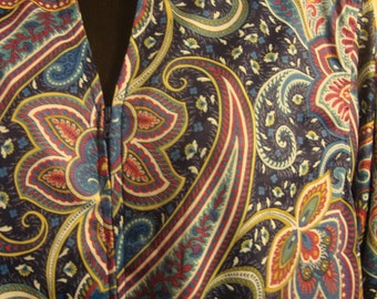 Vintage 1980s Navy Blue Paisley Red & Green Mixed Floral House Dress