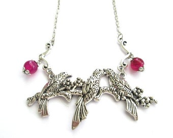 Silver kissing birds pendant necklace jewelry love birds, pink agate necklace