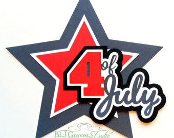 Premade Paper Piecing Title Die Cut for Scrapbook Page 4th of July Handmade 006