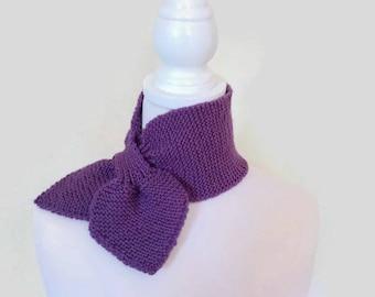 Pure Merino Wool Purple Ascot Scarf