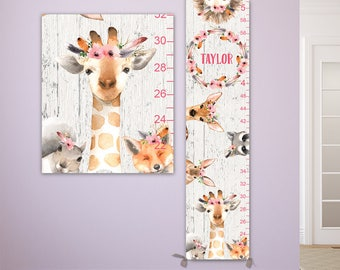 Giraffe Growth Chart - Personalized Canvas Growth Chart on Canvas with Woodland Animals and Flower Crowns - GC4007WW