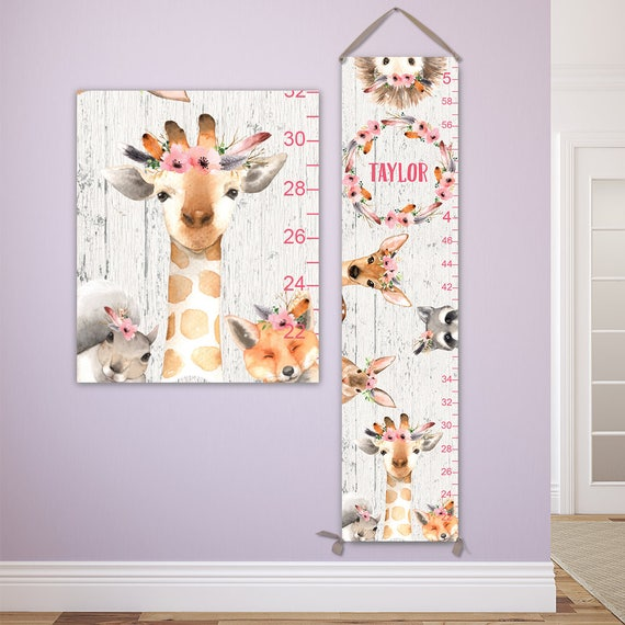 Personalized Canvas Growth Chart with Watercolor Woodland Animals and Flower Crowns - GC4007WW