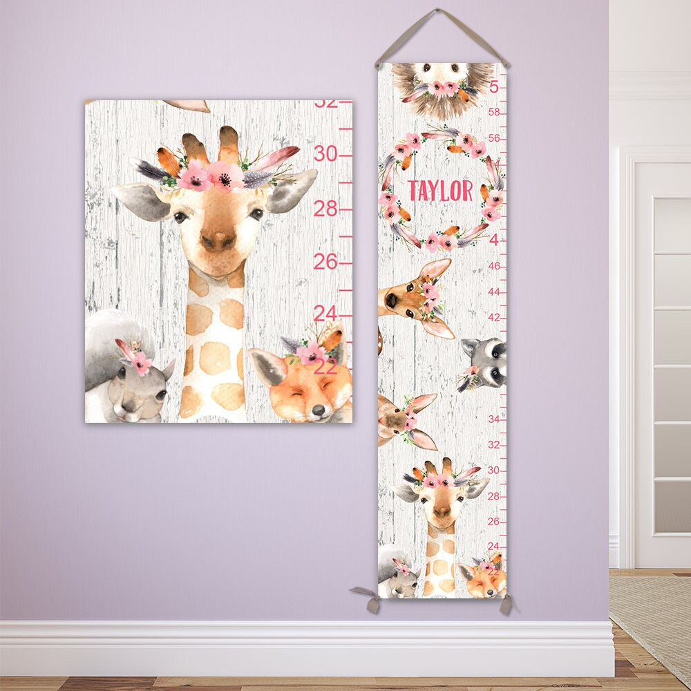 Giraffe growth chart personalized canvas growth chart on canvas giraffe growth chart personalized canvas growth chart on canvas with woodland animals and flower crowns gc4007ww nvjuhfo Gallery